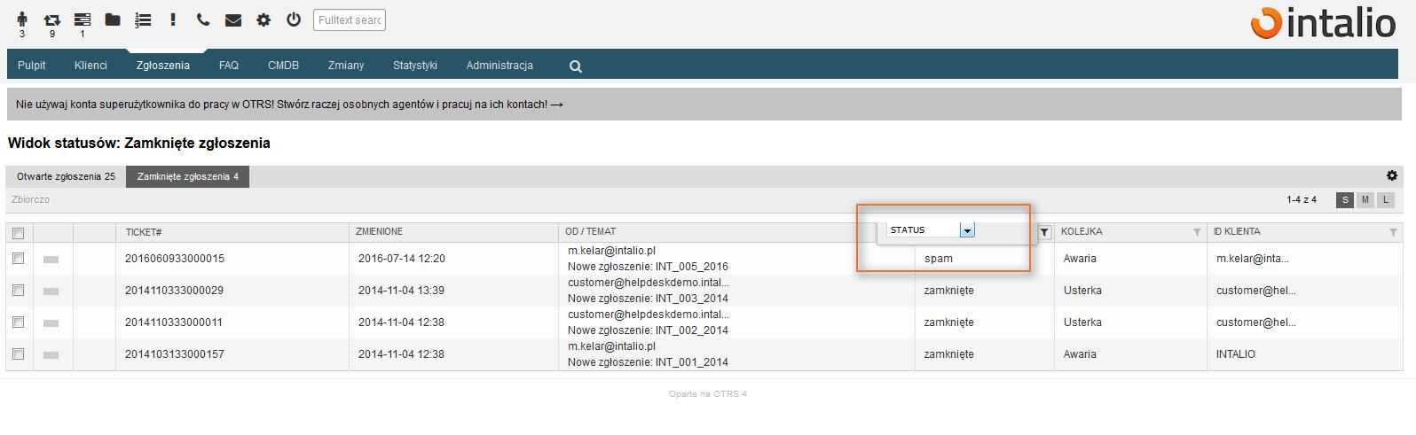 Możliwość wyboru filtru dla statusu zgłoszenia SPAM w zgłoszeniach zamkniętych